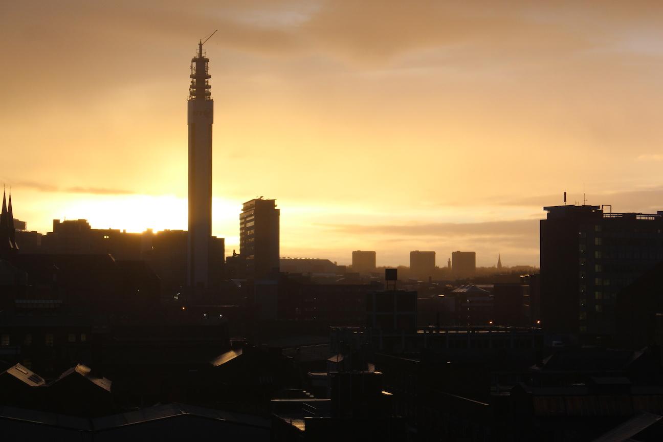 Foggy Birmingham Sunset